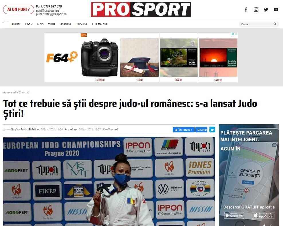 PROSPORT.ro despre noul website JudoStiri